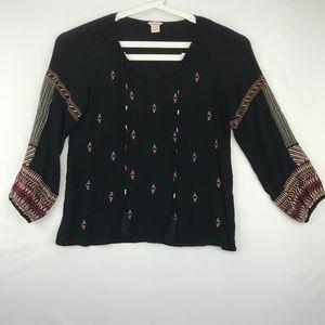 Sundance Black Gauze Top with Multi Embroidery L